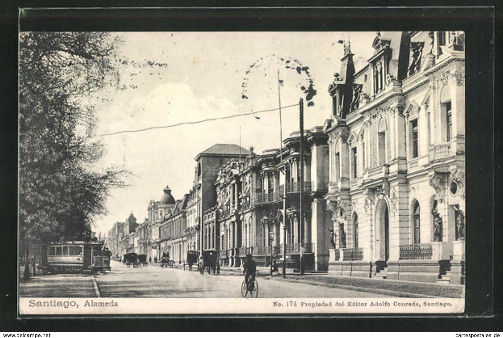 AK Santiago, Alameda Street With Tramway - Chile
