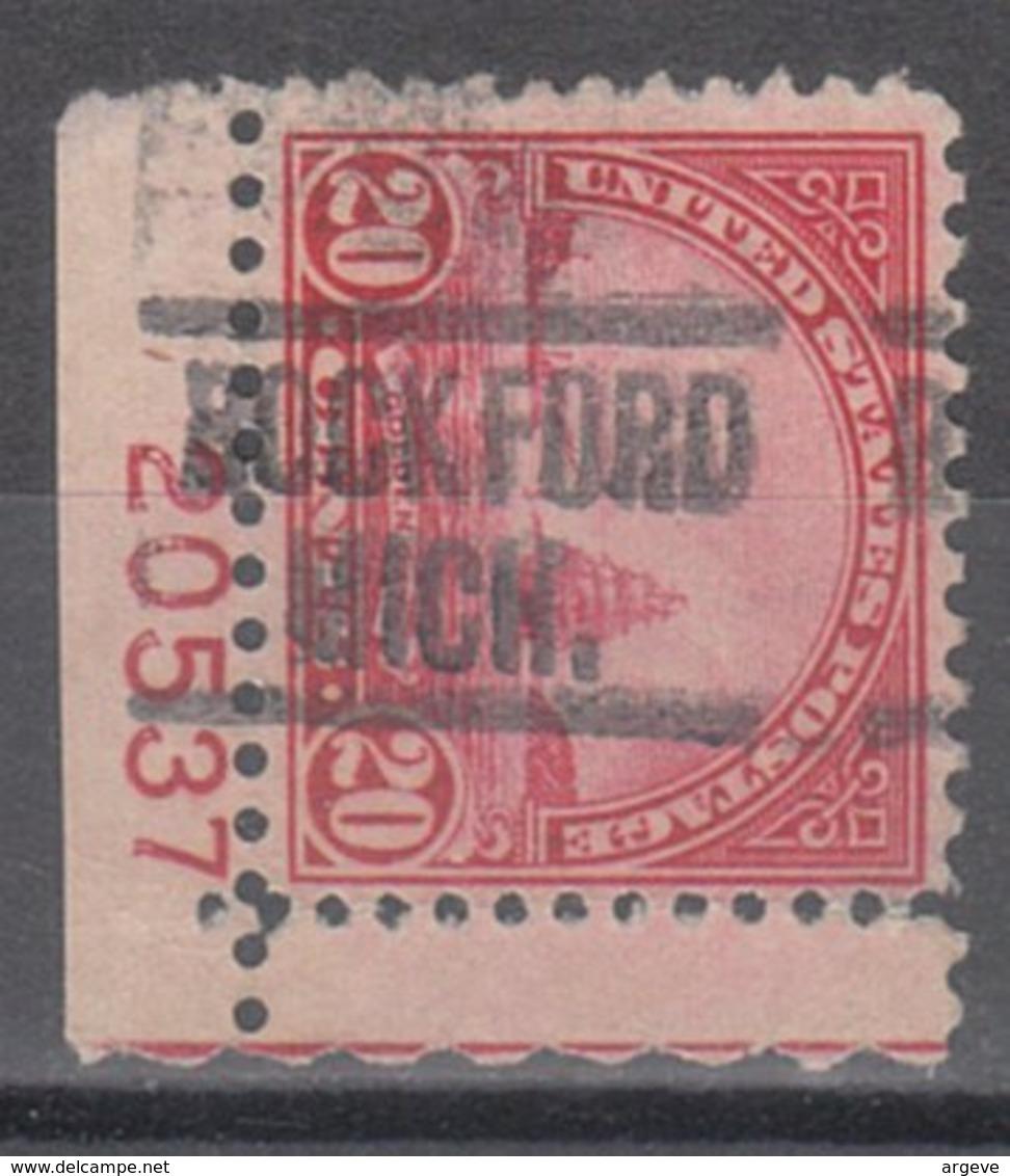USA Precancel Vorausentwertung Preo, Locals Michigan, Rockford 698-549, Plate# - Vereinigte Staaten