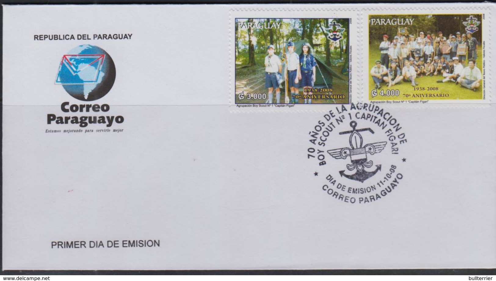 SCOUTS - PARAGUAY -  2008 - BOY SCOUTS SET OF 2 ON ILLUSTRATED  FIRST DAY COVER - Scouting