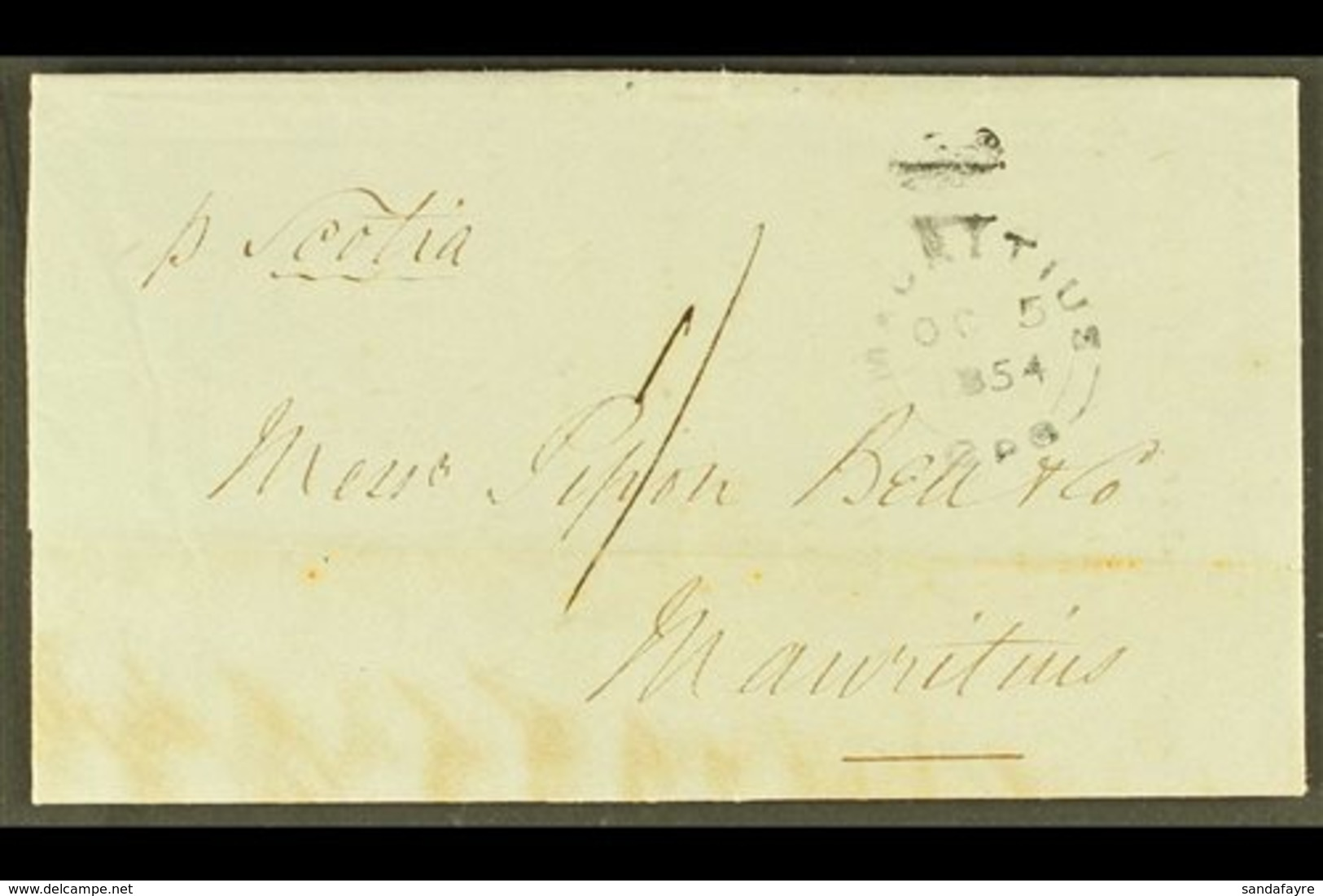 """1854 """"SUGAR"""" ENTIRE  1854 (5 OCT) Local Stampless Entire Letter With Manuscript """"1/"""" Rate And With """"MAURITIUS / OC 5 185 - Mauritius (...-1967)"""