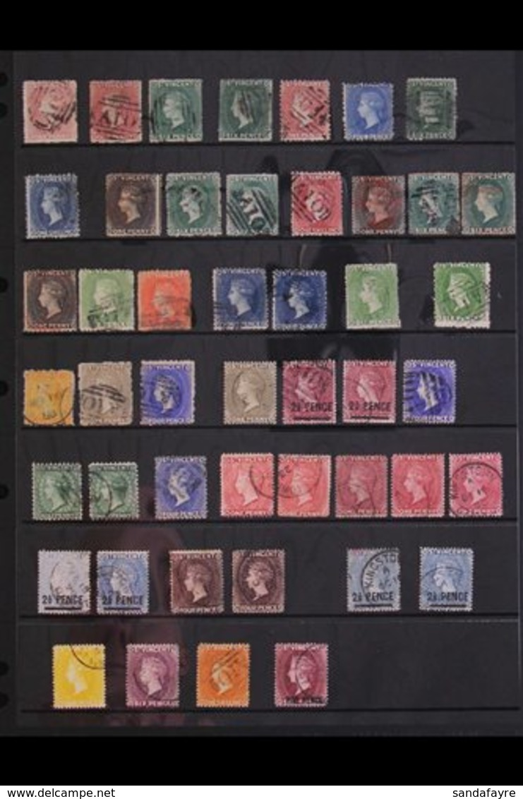 1861-1935 ATTRACTIVE USED COLLECTION.  With Strong QV Including 1861 6d Deep Yellow-green, 1862-68 (perf 11 To 12½) Set  - St.Vincent (...-1979)