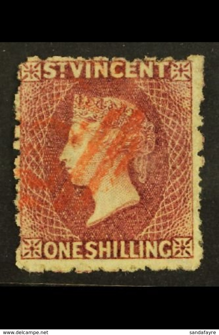 1875  1s Claret, Wmk Small Star, Perf 11 To 12½, SG 21, Very Fine Used With Neat Red Cancel. For More Images, Please Vis - St.Vincent (...-1979)