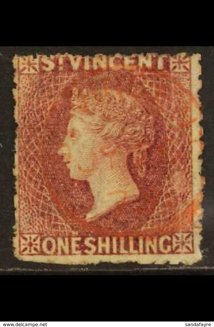 1875  1s Claret Perf 11 To 12½, SG 21, Used With Superb Almost Complete Fully Dated Cds Cancel In Red, Usual Rough Perfs - St.Vincent (...-1979)