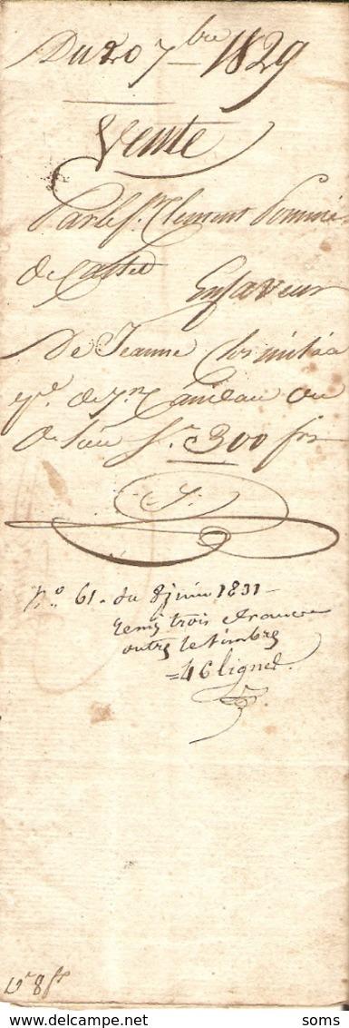 Vieux Papier Du Béarn, Castet En Ossau, 1829, Pommé Vend Une Prairie Quartier Hist /List à Jeanne Clos-Milaa ép. Candau - Historische Documenten