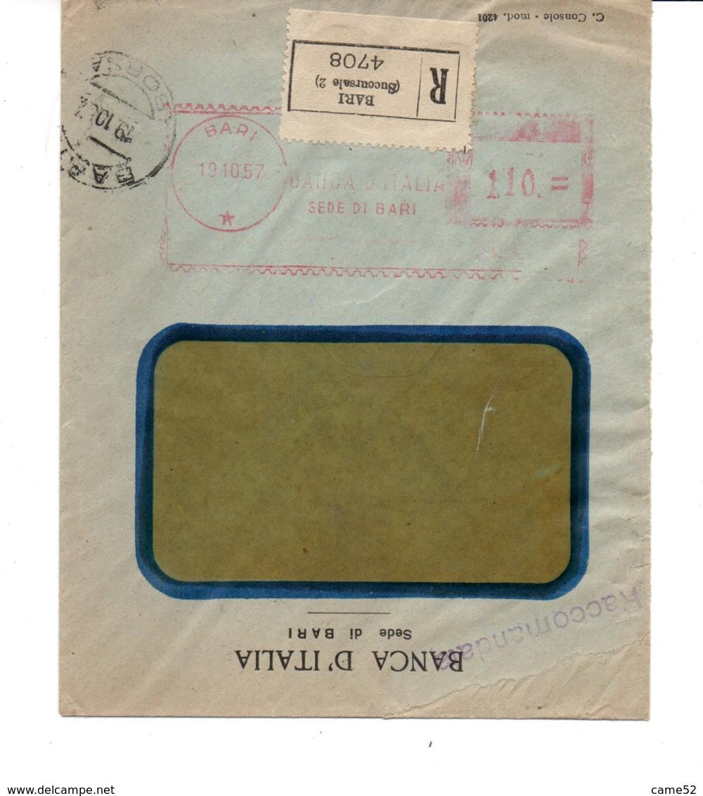 1957 EMA Affrancatura Meccanica Rossa Freistempel Bari Banca D'Italia Sede Di Bari Su Raccomandata - Affrancature Meccaniche Rosse (EMA)