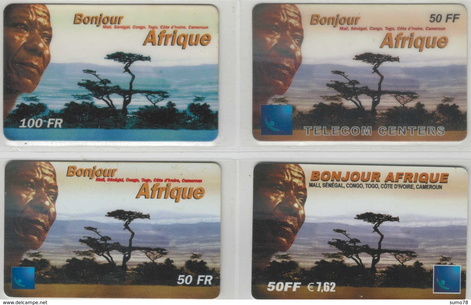Lot De 4 Cartes Prépayées Différentes - BONJOUR AFRIQUE   -  Prépaid  - (valeur Et/ou Verso  Différent) - Frankrijk