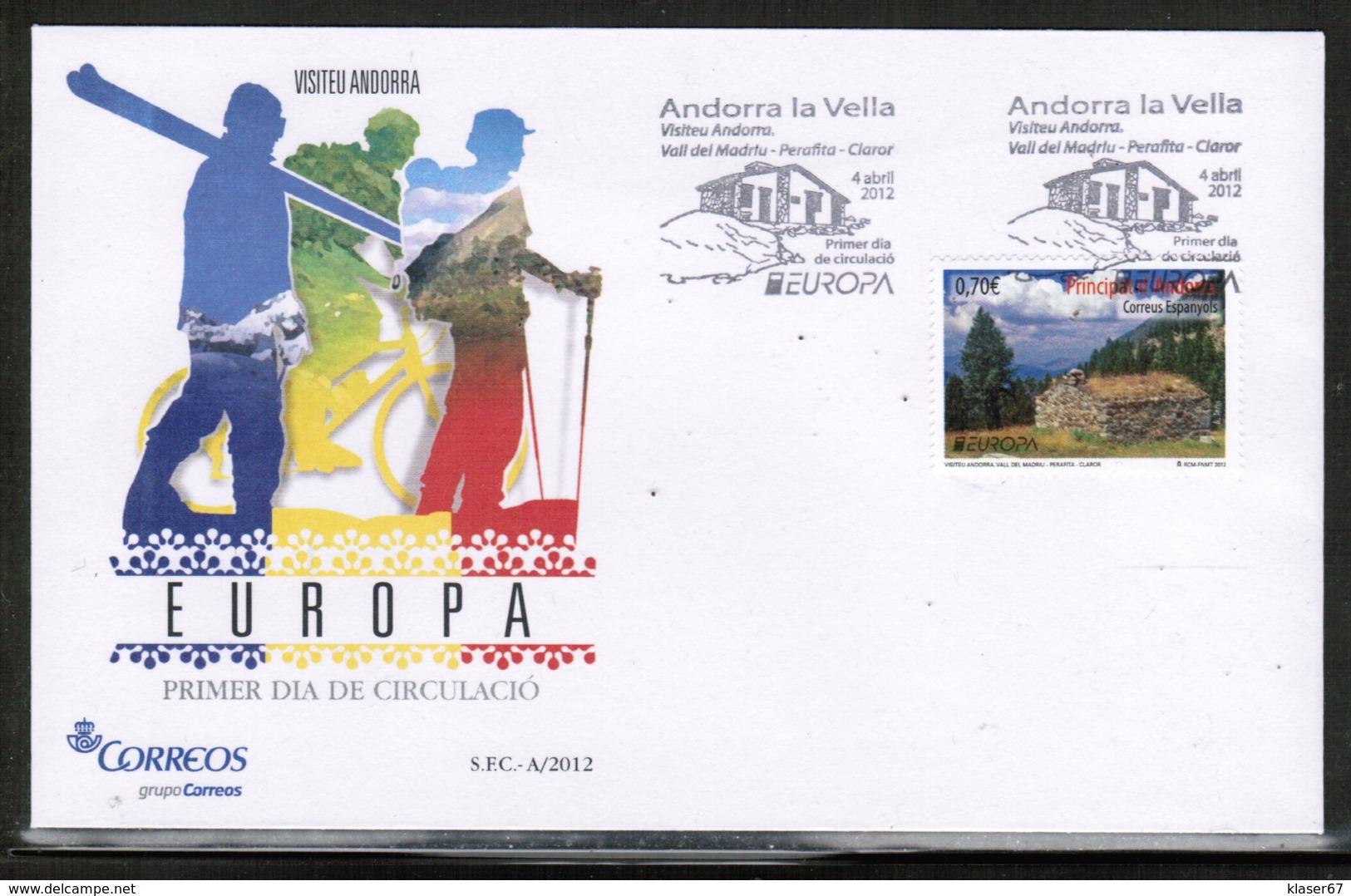 CEPT 2012 AD ES MI 389 ANDORRA SPAIN FDC - Europa-CEPT