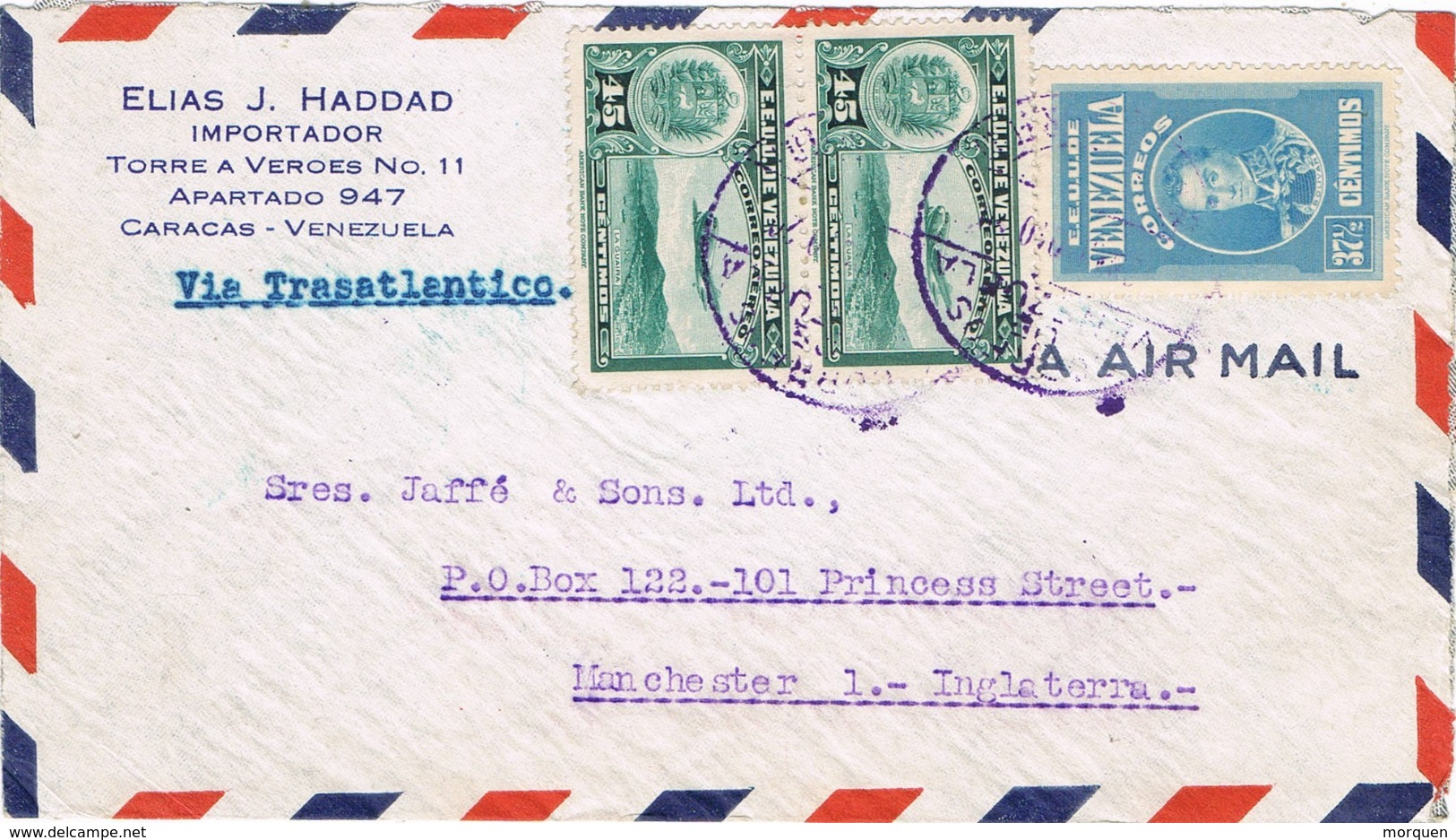 34513. Carta Aerea Via Trasatlantico CARACAS (Venezuela) 1929 A England - Venezuela