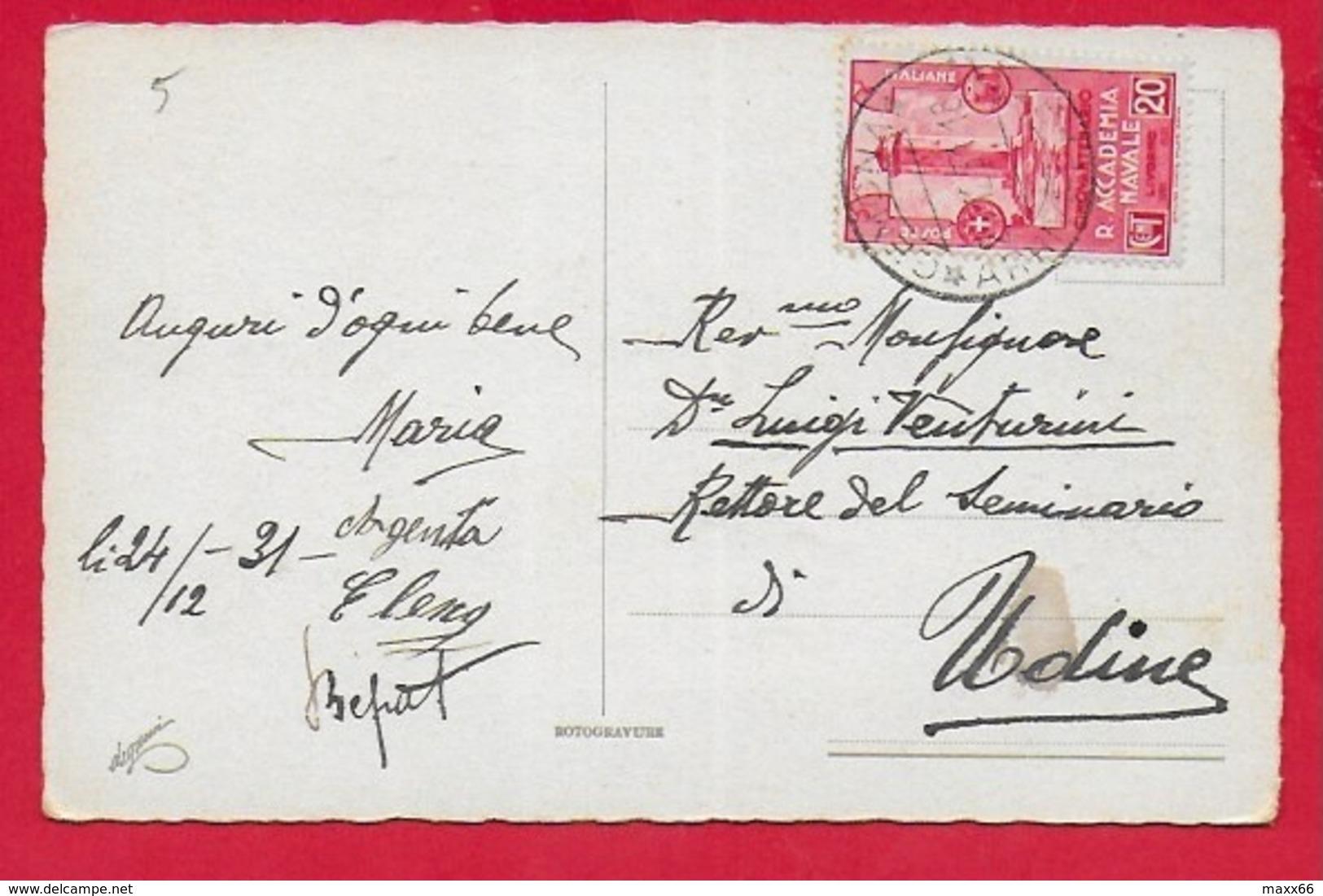 CARTOLINA VG ITALIA - BUON NATALE - Adorazione Dei Magi - 9 X 14 - 1931 ACCADEMIA NAVALE LIVORNO 20 C. Isolato - Natale