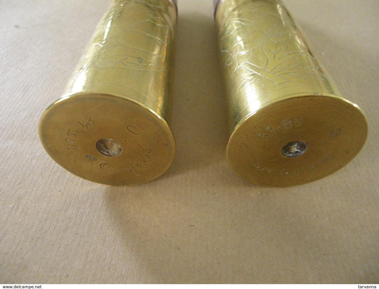 Paire D'obus De 37 Mm Artisanat De Tranchée : LA MARNE  LA VESLE - Equipement