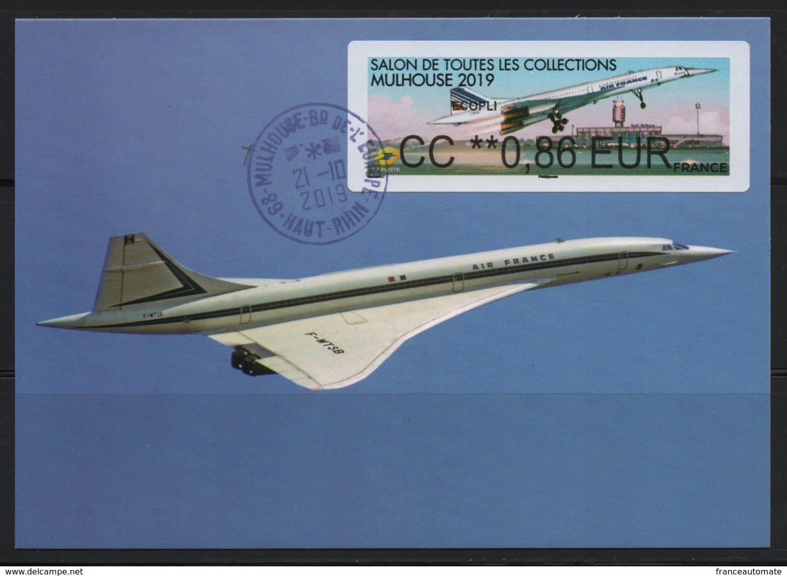 Carte Maximum, Vignette Brother, CC 0.86€, 50 Ans De L'aventure Concorde, MULHOUSE 2019, SALON TOUTES COLLECTIONS - Concorde