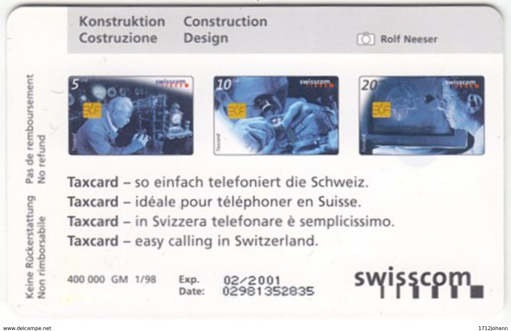 SWITZERLAND C-320 Chip Swisscom - Occupation, Watchmaker - Used - Suisse