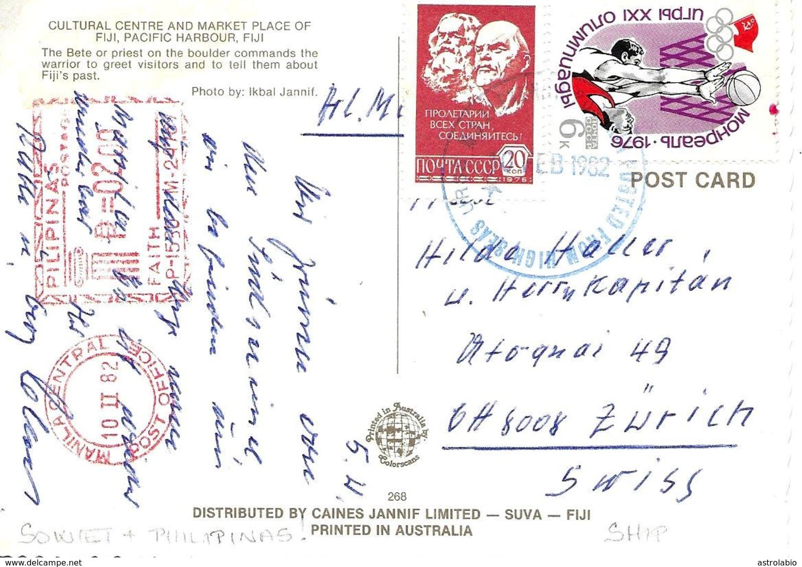 """ U.R.R.S  Pacific Ocean Ship "" 1982, Schiff. + Flamme Philippines Vers Suisse - 1923-1991 USSR"