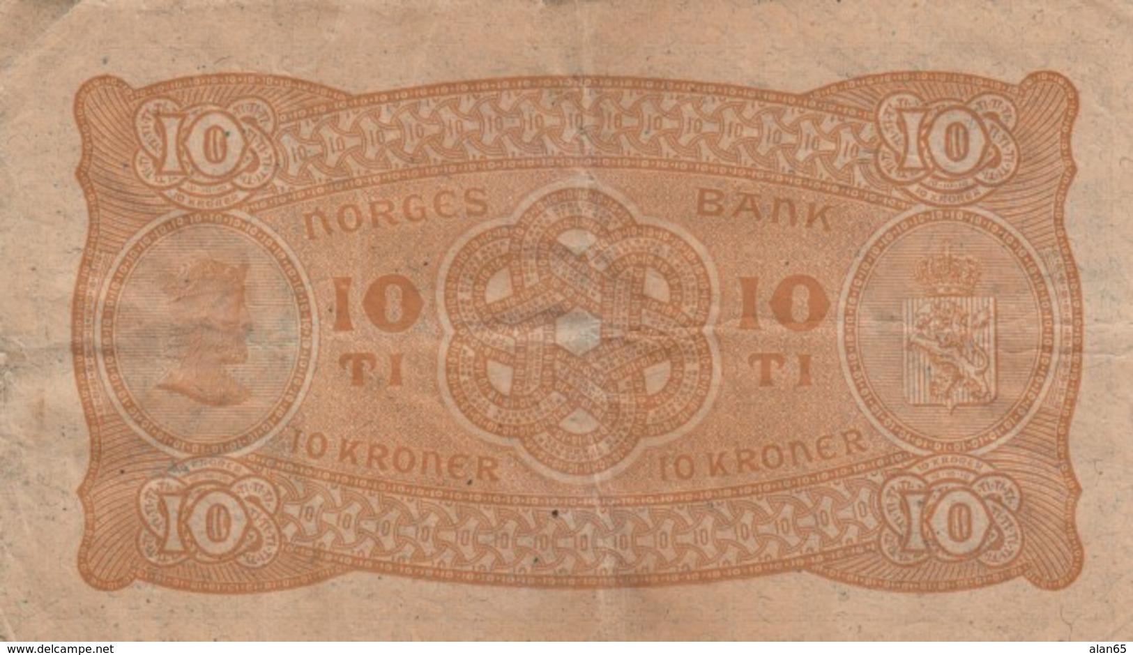 Norway #8c 10 Kroner 1939 Banknote Money Currency - Norvegia