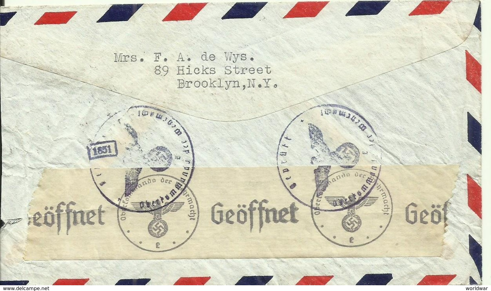 1941  Censored Air Mail Letter From New York To Velp, Holland   Atlantic Clipper - Luftpost