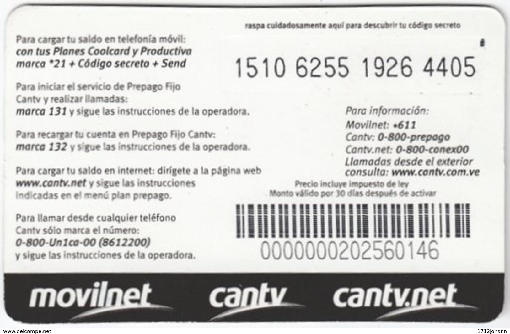 VENEZUELA A-953 Prepaid Un1ca - Used - Venezuela