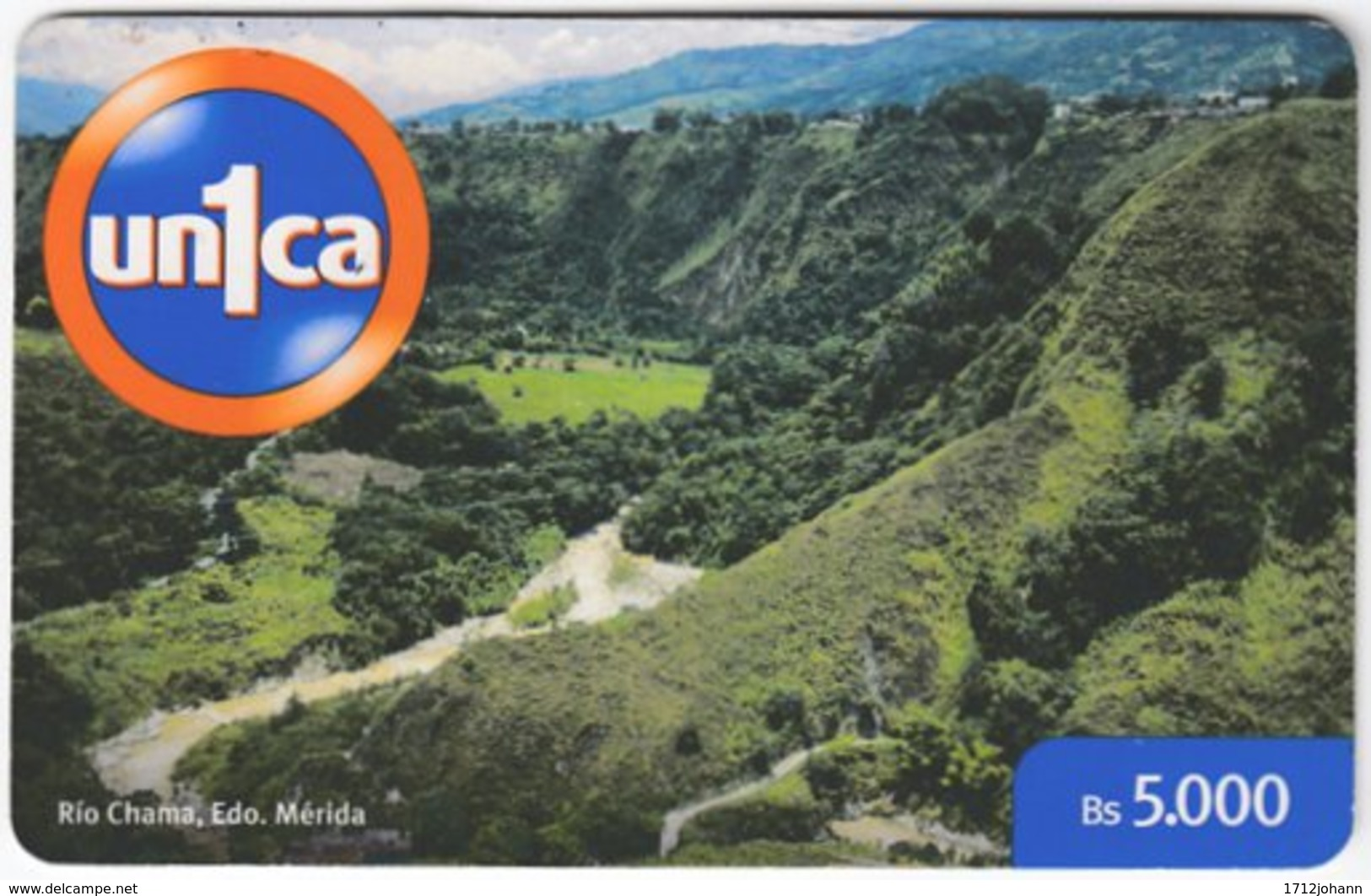 VENEZUELA A-997 Prepaid Un1ca - Landscape, Mountain - Used - Venezuela