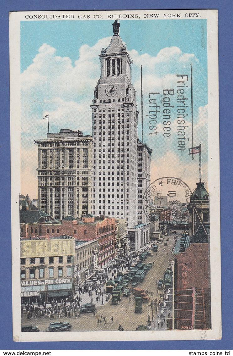 USA Zeppelin-Postkarte ROUND-THE-WORLD-FLIGHT 1929 Gel. Nach Deutschland - Stati Uniti