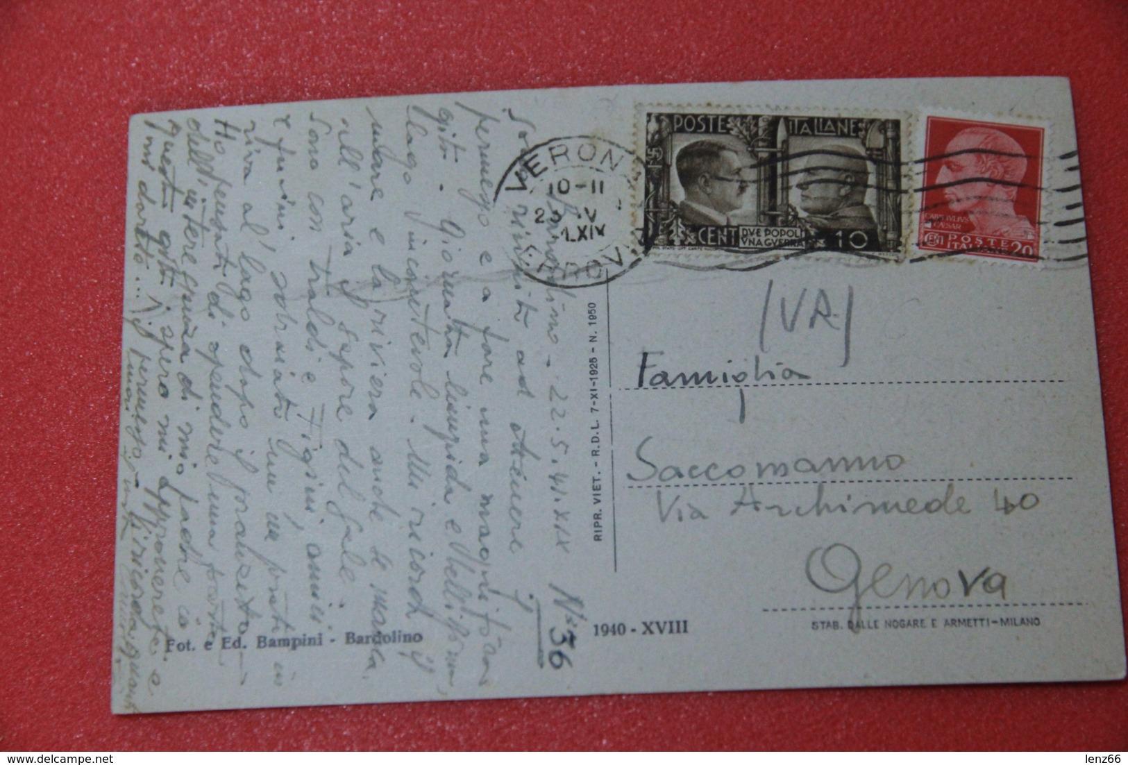 Lago Di Garda Verona Bardolino 1941 Affrancatura Alleanza Italo Germanica + Timbro Datario Fascista Ed. Bampini - Italia