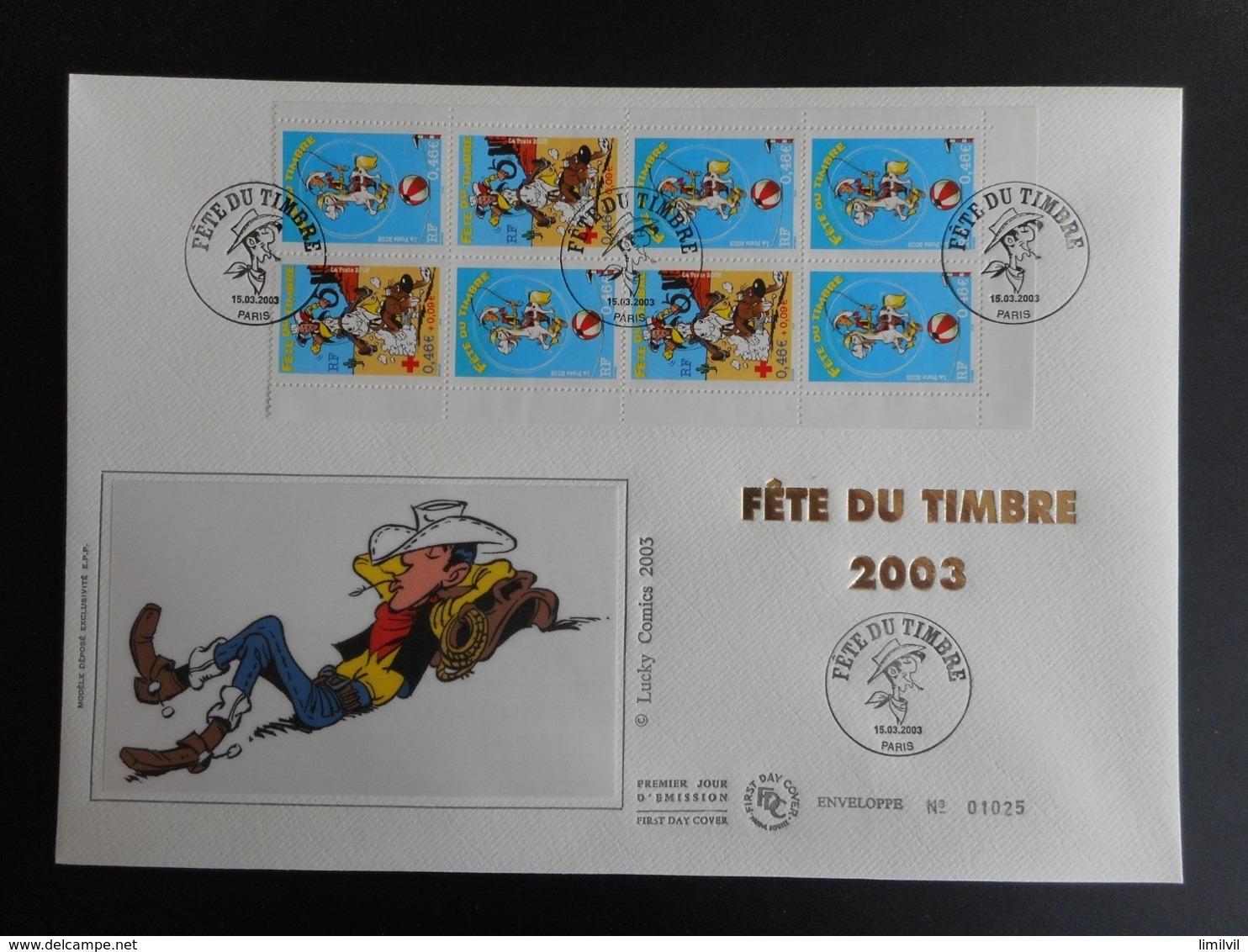 "FDC Grand Format - Carnet Fête Du Timbre 2003 ""Lucky Luke"", Oblitération 15/3/2003 - FDC"