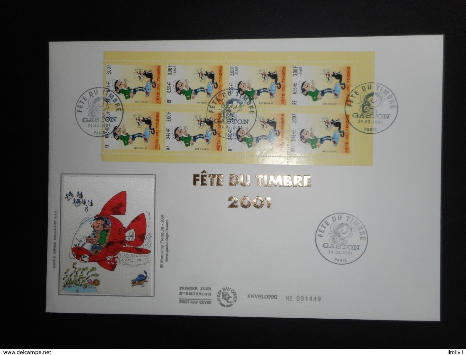"""FDC Grand Format - Carnet Fête Du Timbre 2001 """"Gaston Lagaffe"""", Oblitération 24/2/2001 - FDC"""