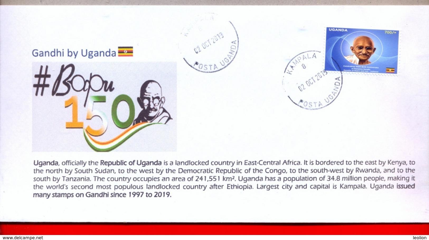 UGANDA 2019 New Stamp Issue GANDHI Birth Anniversary Private FDC First Day Of Issue Cover OUGANDA #4 - Uganda (1962-...)