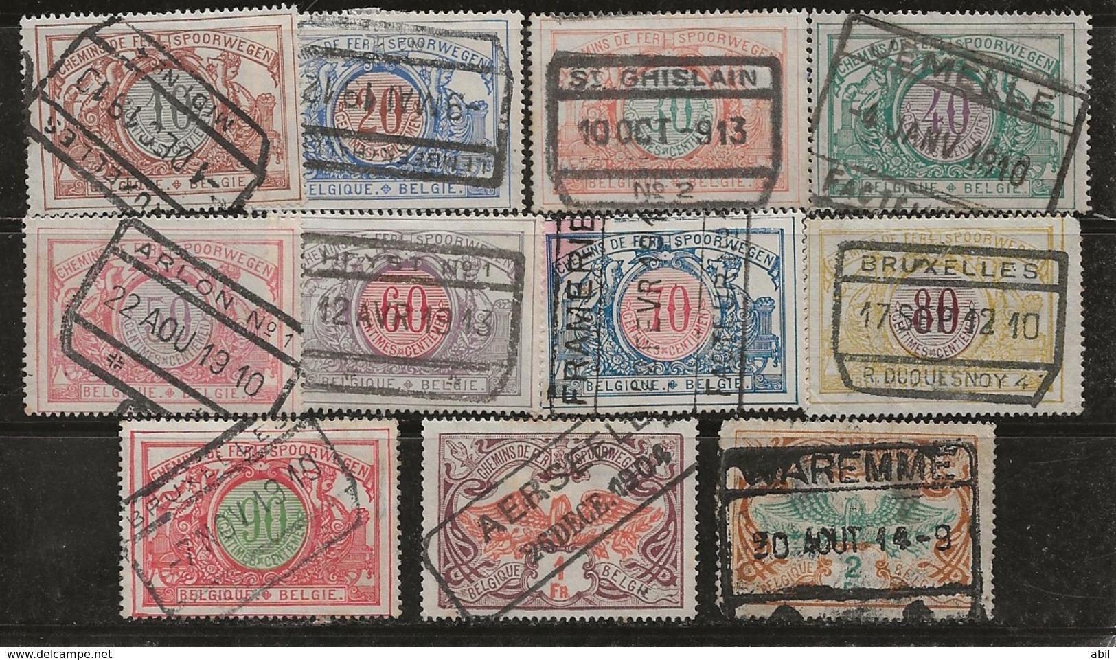 Belgique 1902-1905 N°Y.T. :  CP. 11 Valeurs Série 28 à 42 Obl. - 1895-1913
