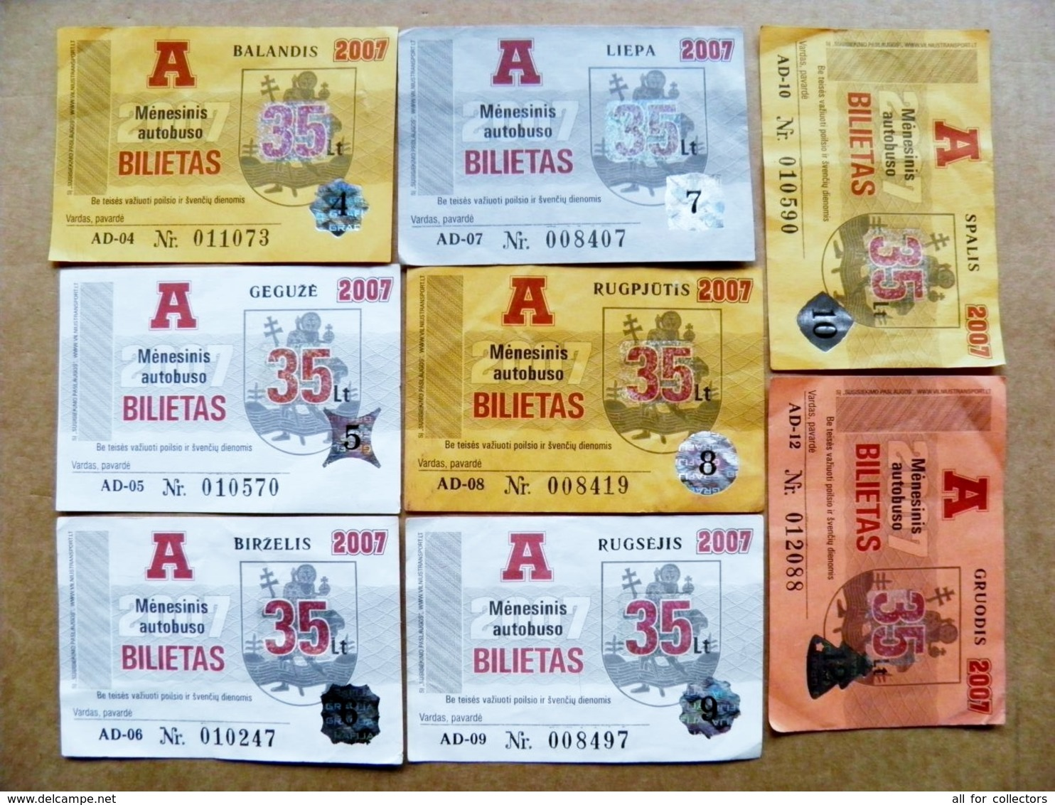8 Transport Tickets Vilnius City Capital Of Lithuania BUS Monthly Ticket 2007 35lt. - Europa