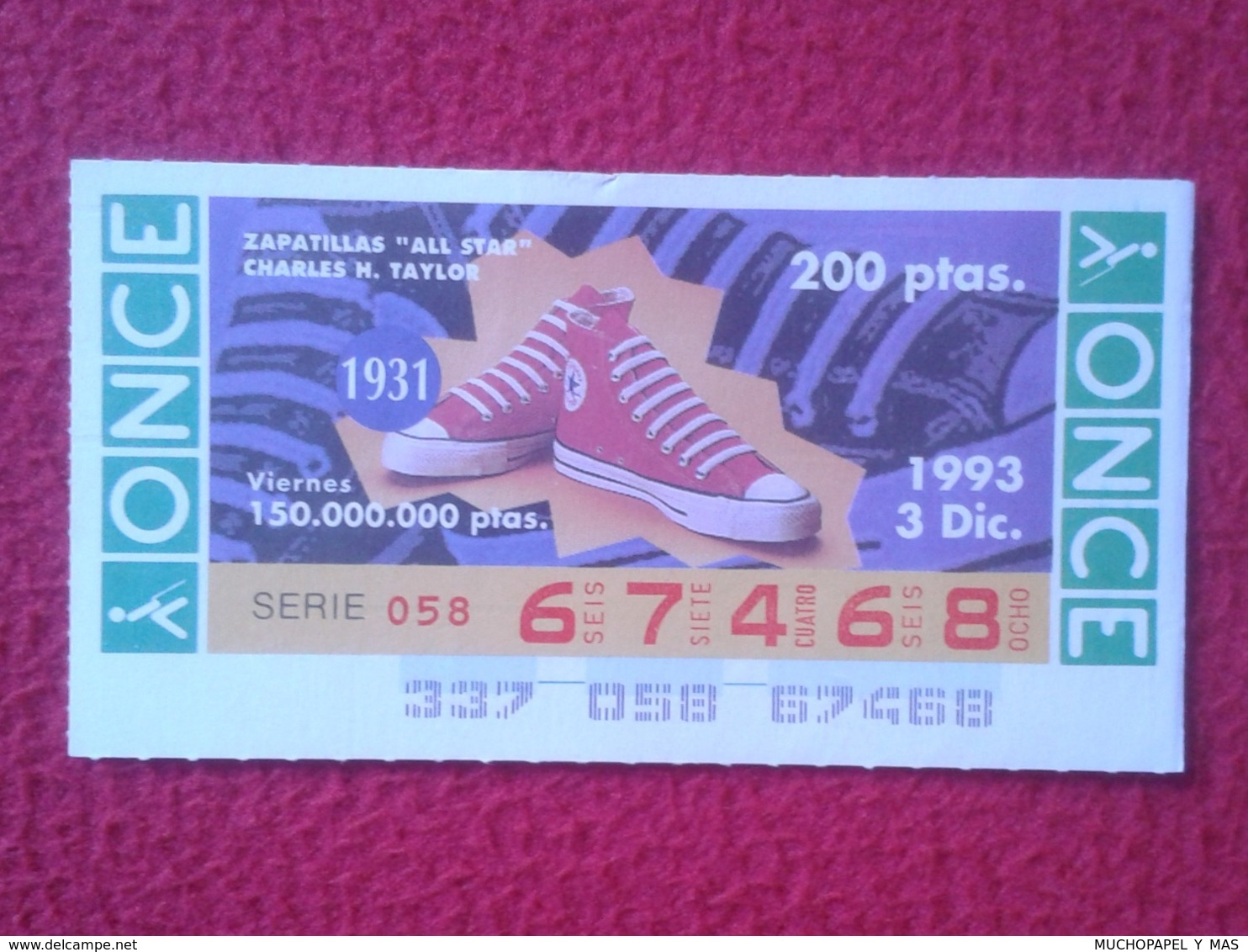 CUPÓN DE ONCE 1993 LOTTERY LOTERIE SPAIN CIEGOS BLIND LOTERÍA ZAPATILLAS ALL STAR CHARLES H. TAYLOR 1931 SNEAKERS SHOES - Billetes De Lotería