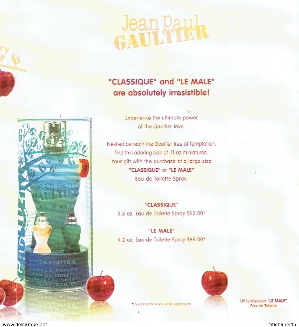"Large Et RARE Rabat Jean-Paul GAULTIER  - SAINT-VALENTIN ""Give In To Temptation - Perfume Card USA - 19,2 X 21 Cm - Cartes Parfumées"