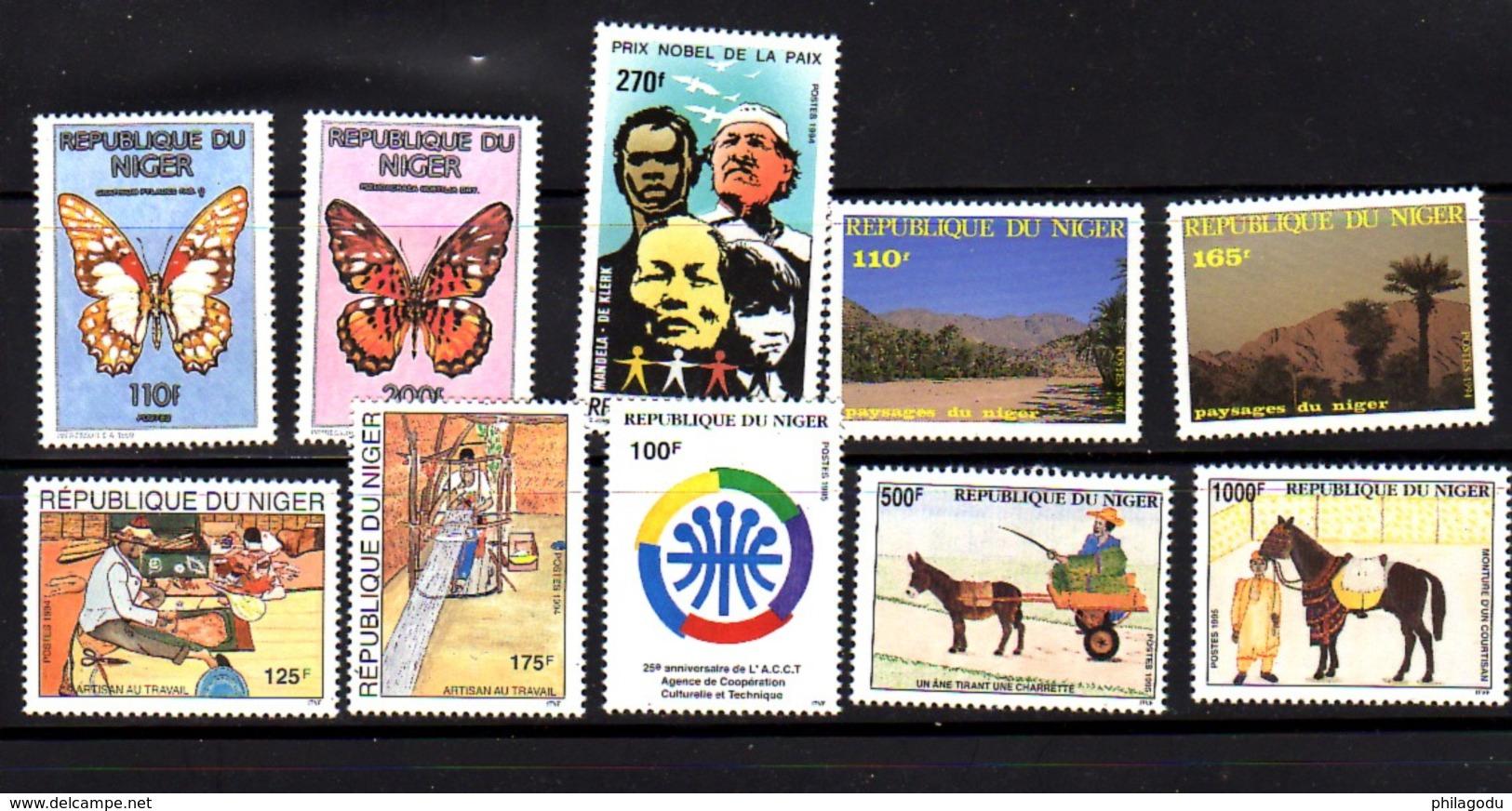 Niger 1991-94, Papillons, Nobel, Artisanat, Transport Animal, Entre 805 Et 844**+ ( MI 1163 F/G), Cote 23 € - Niger (1960-...)