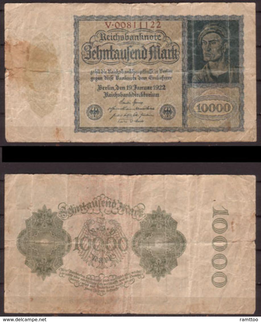 Weimarer Republik , Infla , 10 000 Mark , 1922 , RB-69 B , Vg - [ 3] 1918-1933: Weimarrepubliek
