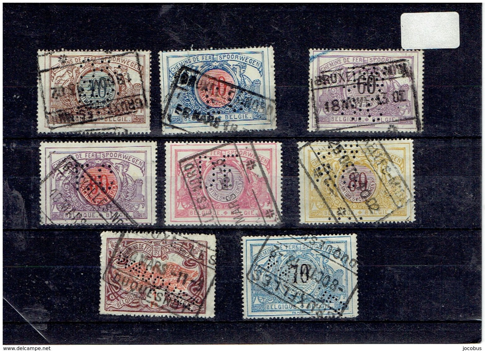 8 Timbres CHEMIN DE FER PERFORES - Lochung