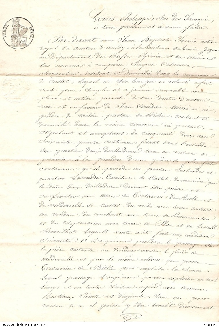 Vieux Papier Du Béarn, Castet En Ossau, 1834, Le Charpentier Jacques Casanave Vend Une Prairie Au Berger Candau Milaa - Historische Documenten