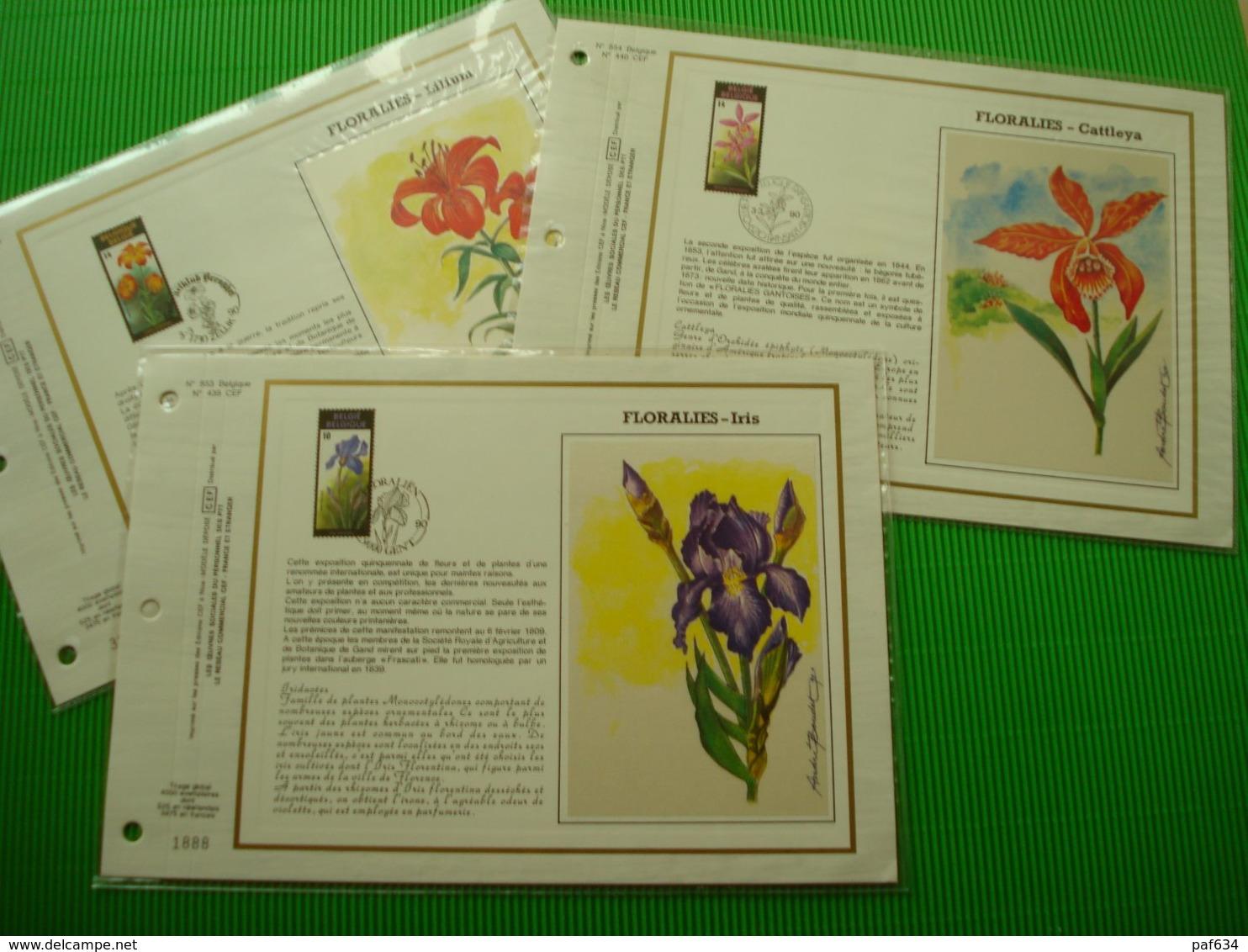 3 Kunstbladen Op Zijde*Floralies Gantoise* - Cartoline Commemorative