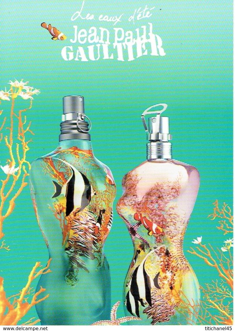 """Grande Carte Glacée Jean-Paul GAULTIER  """"EAUX D'ETE - SUMMER FRAGRANCES""""  - Perfume Card ITALIE - 15 X 21 Cm - Cartes Parfumées"""