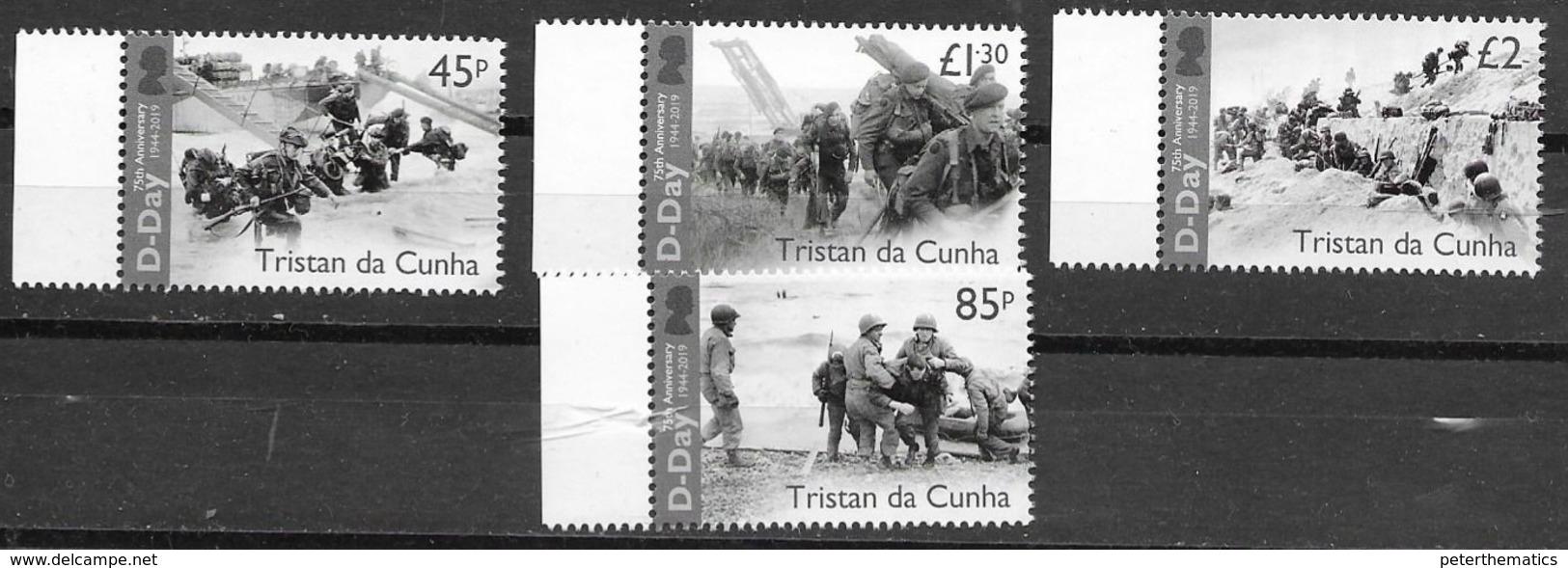 TRISTAN DA CUNHA, 2019, MNH, WWII, D-DAY, SHIPS,  MILITARY, 4v - WW2