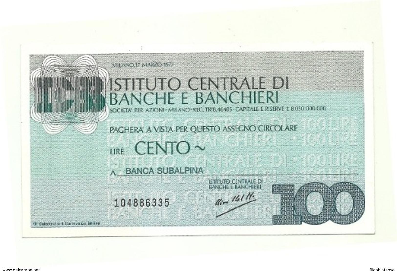 1977 - Italia - Istituto Centrale Di Banche E Banchieri - Banca Subalpina - [10] Assegni E Miniassegni