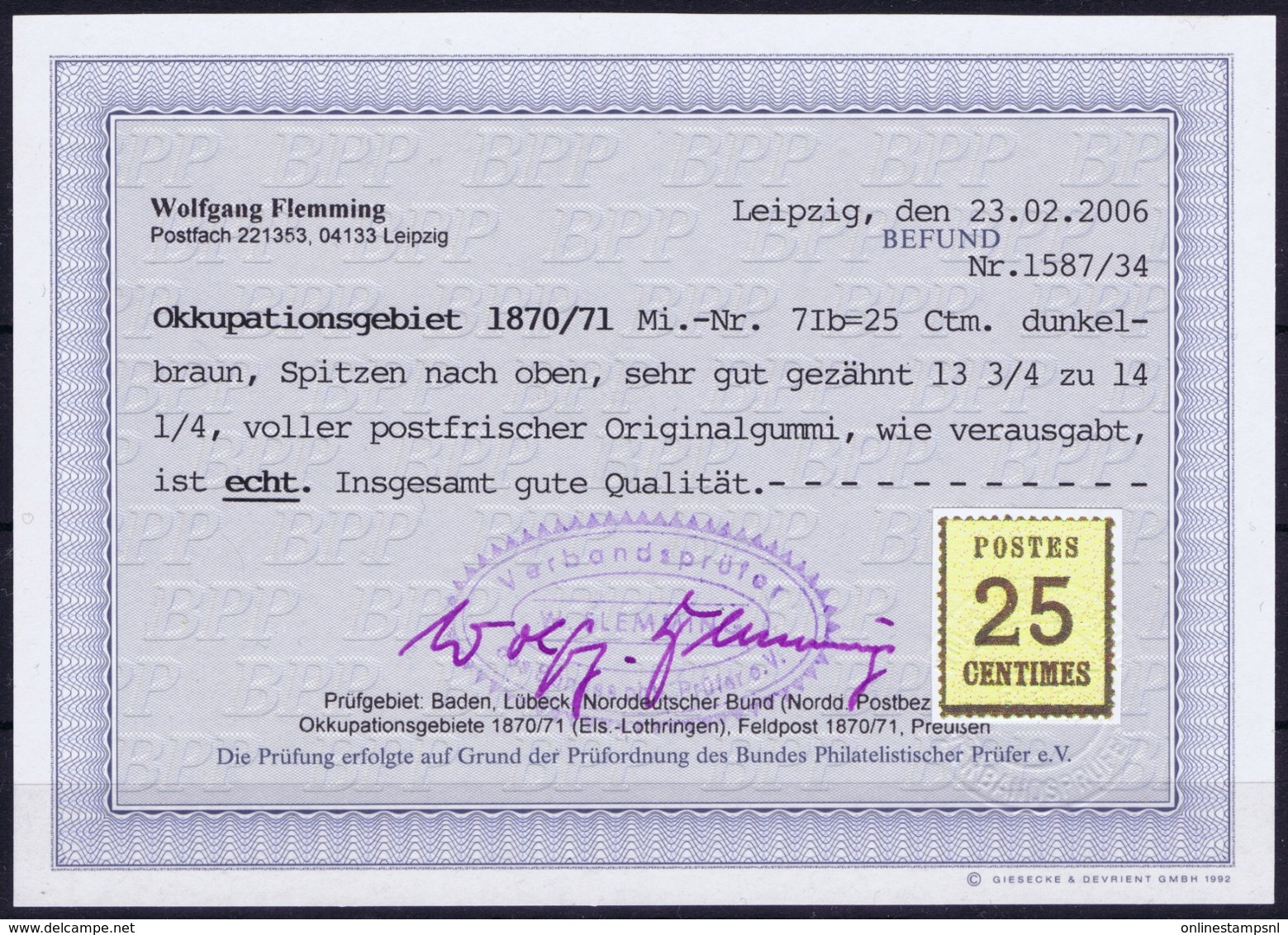 NDP Okkupationsgebiet 1870/71 Mi 7Ib Dunkelbraun Spitzen Nach Oben Potfrisch Originalgummi Photo Befund BPP Flemming - North German Conf.