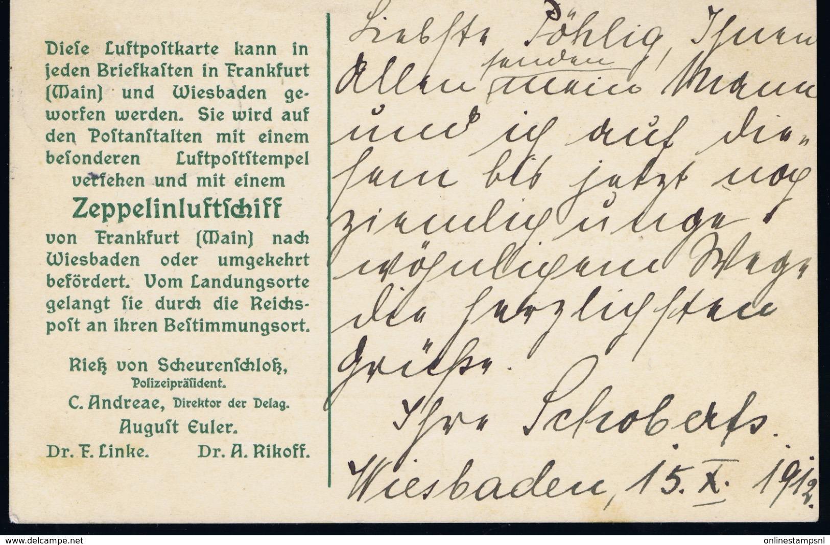 Deutsche Reich 15-10-1912 Zeppelin  Sieger 16 Ad Stempel Wiesbaden - Luchtpost