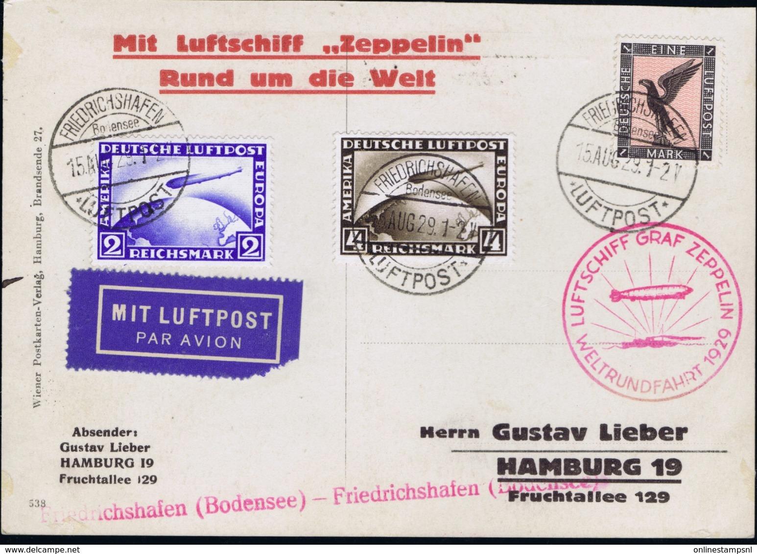 Deutsche Reich Mit Luftschiff  Zeppelin Rund Um Die Welt Mi 423 - 424 + 382 Friedrichshafen 1929 - Luchtpost