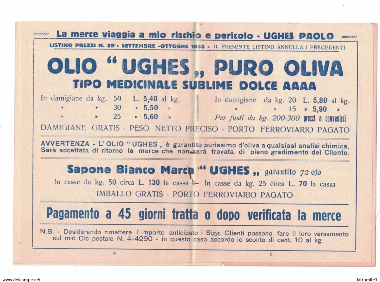 CARTOLINA POSTALE OLIO PURO D'OLIVA PAOLO UGHES  ONEGLIA Con Listino - Pubblicitari