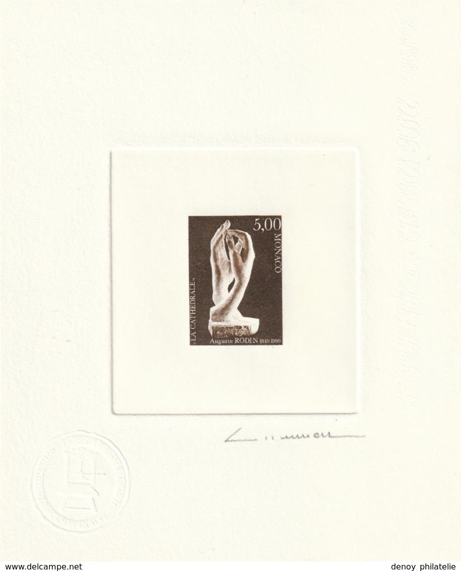 """Monaco Epreuve D'Artiste Avec épreuve En Négatif Du N° 1748 Rodin """"la Cathédrale"""" (mains) RRR - Monaco"""