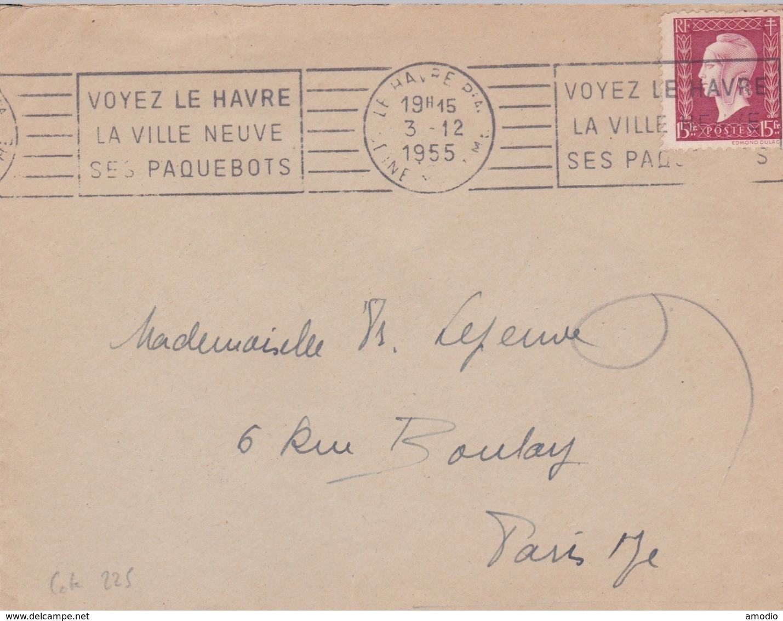 France YT 699 Seul Sur Lettre. RBV Le Havre 03/12/55 - Marcophilie (Lettres)