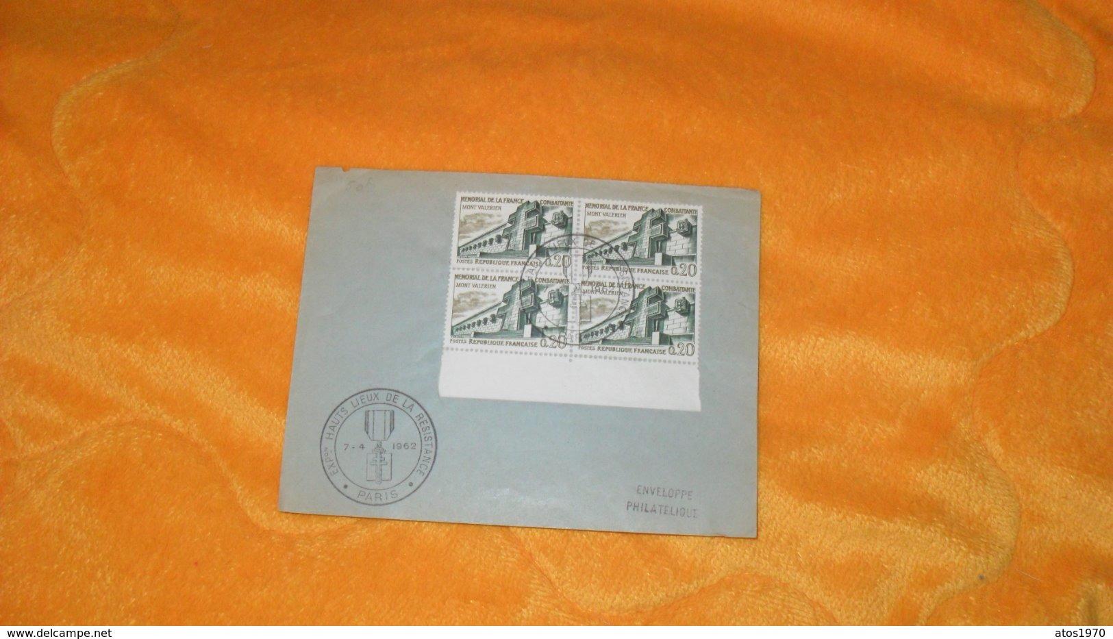 ENVELOPPE DE 1962.../ CACHETS EXPOSITION HAUTS LIEUX DE LA RESISTANCE PARIS + TIMBRES X4 - Marcophilie (Lettres)