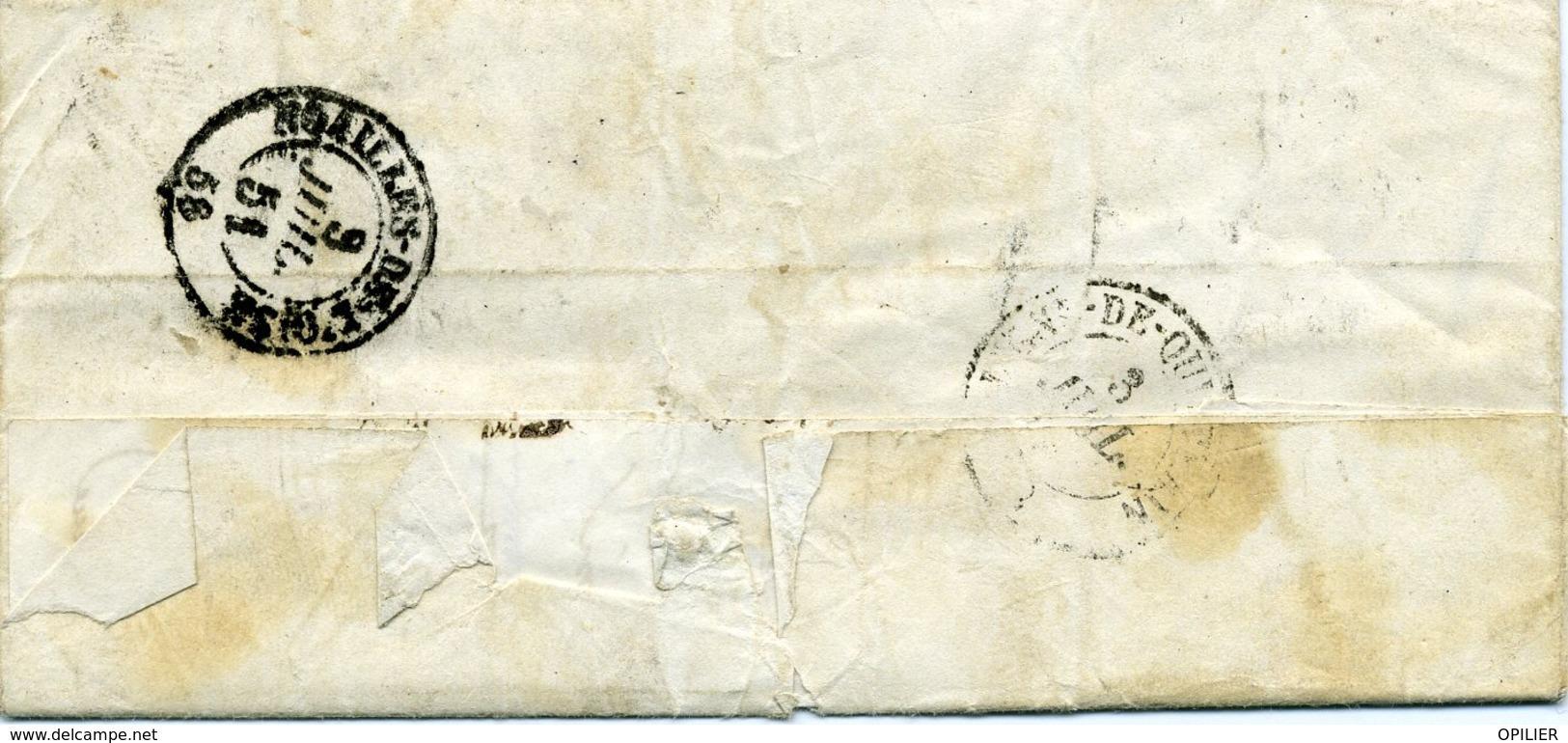 Pas De Calais HUCQUELIERS Type 15 Du 2 Juil 1851 Taxe Double Trait 25c BOITE RURALE H De Verchocq - 1849-1876: Période Classique