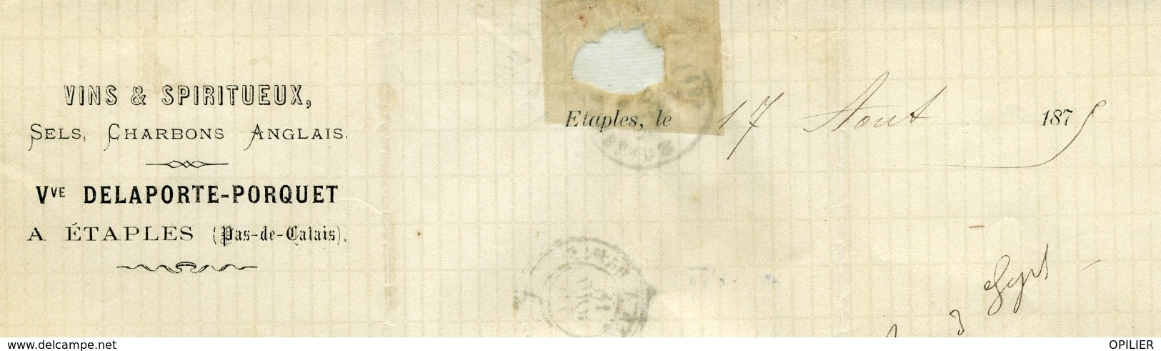 Pas De Calais ETAPLES Type 16 Du 17 Août 1875 25c Cérès GC 1437 Pour La Tremblade - Marcophilie (Lettres)