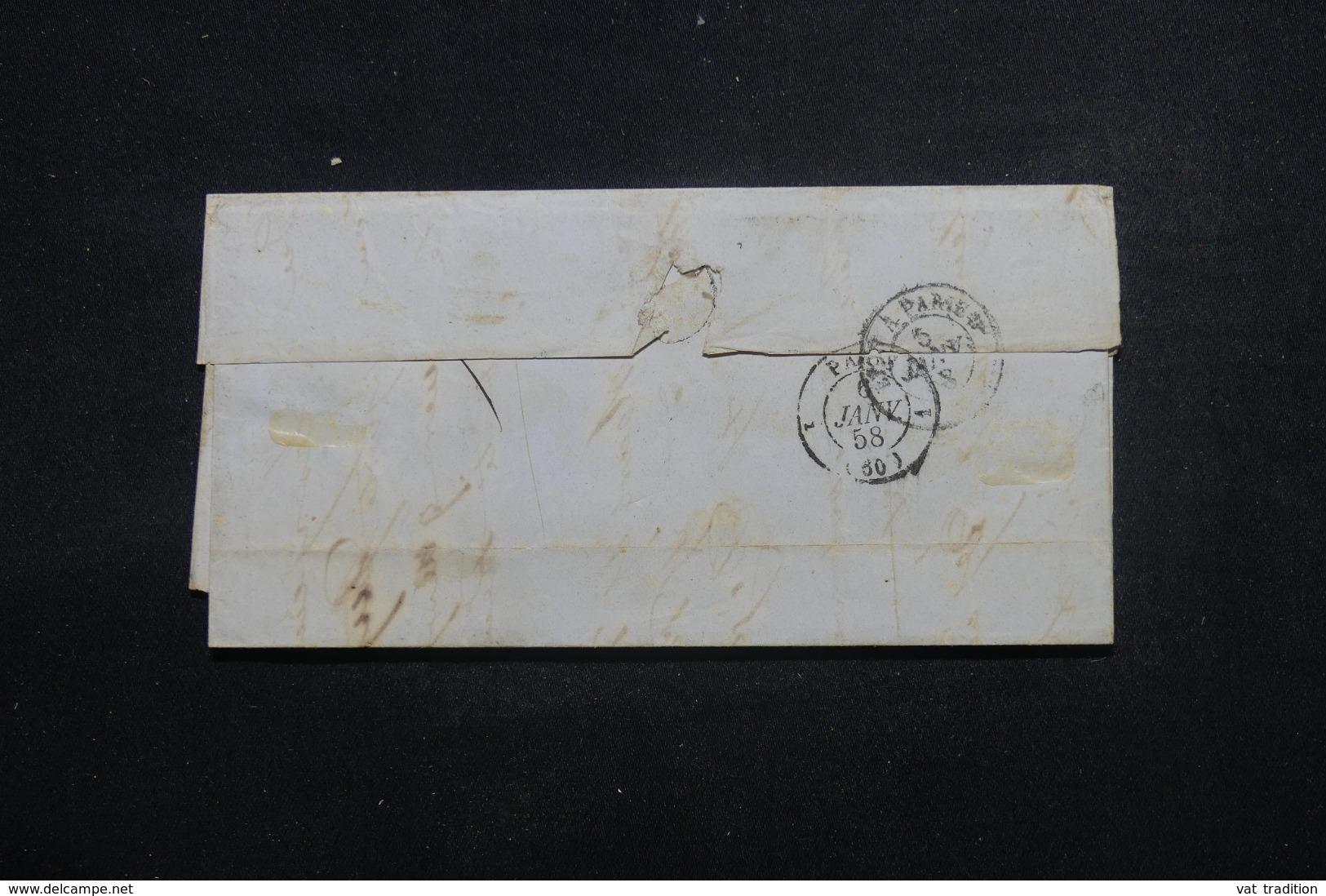 """FRANCE - Lettre De Chambery Pour La France En 1858  Cachet D'entrée En France """" Sardaigne - Culoz AC """" - L 46224 - Storia Postale"""