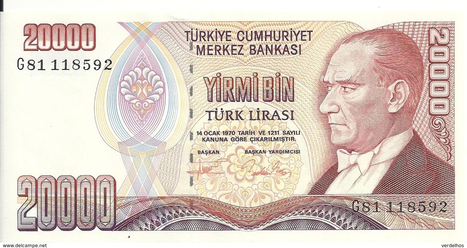 TURQUIE 20000 LIRA 1995 UNC P 202 - Turkije