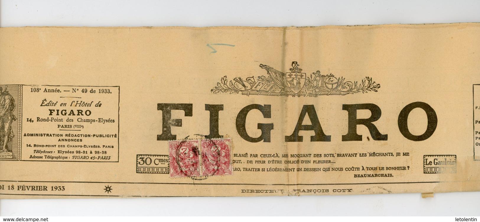 "FRANCE - TYPE BLANC N°Yt 108X2 SUR JOURNAL ""LE FIGARO"" DE 1933 - 1900-29 Blanc"